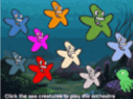 shows animation style of like star fishes in different colours such ad blue or gray or green or orange among other colours in a water style of background