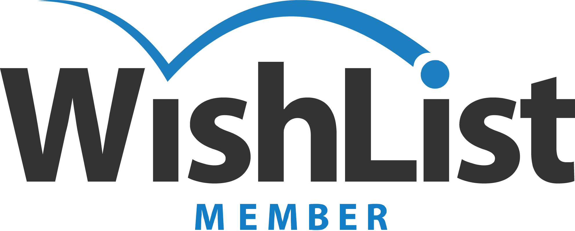 Brand image of Whislist member with black letter for the brand name and blue on top of the letters and blue word for member and graybackground
