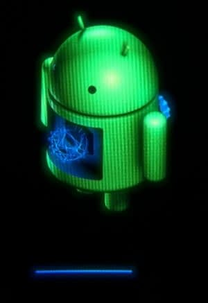 Android robot brand icon with green colour and blue colour like heart and black background