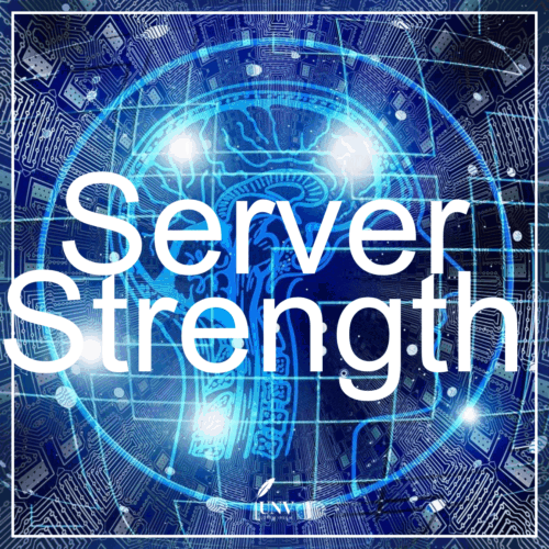 You see the word Server Strength and blueand gray background with the idea of being inside a server