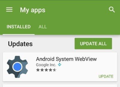 Android system webview app in my apps delayed